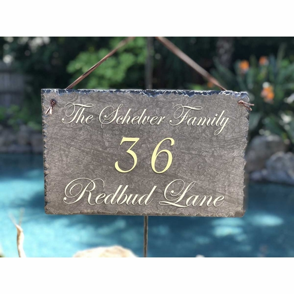 Slate 3 Line Address Sign