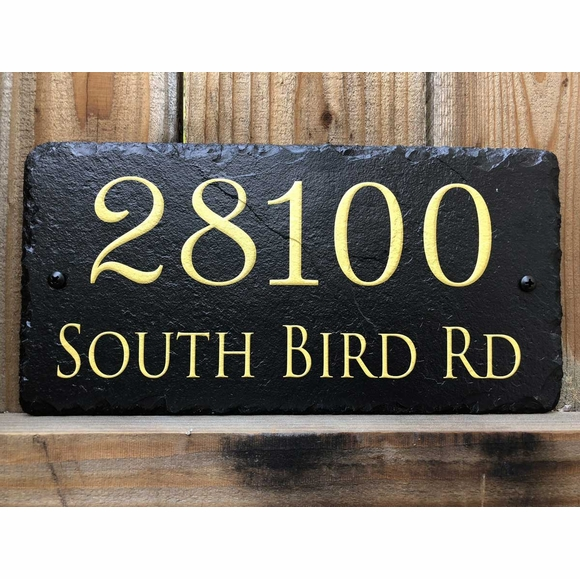 Slate Address Sign with Giant Gold Numbers