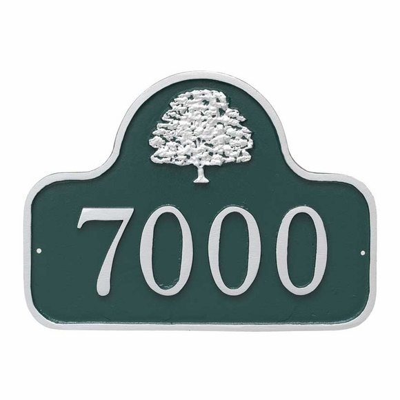 Address Plaque with Oak Tree - Small Arch Shape Address Sign