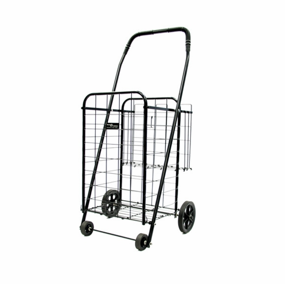 Small folding shopping cart with rear basket