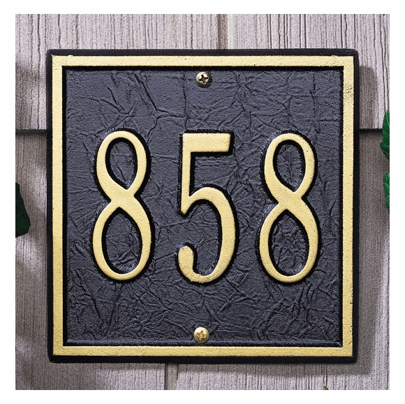 Small Square House Number Sign - Metal Address Plaque