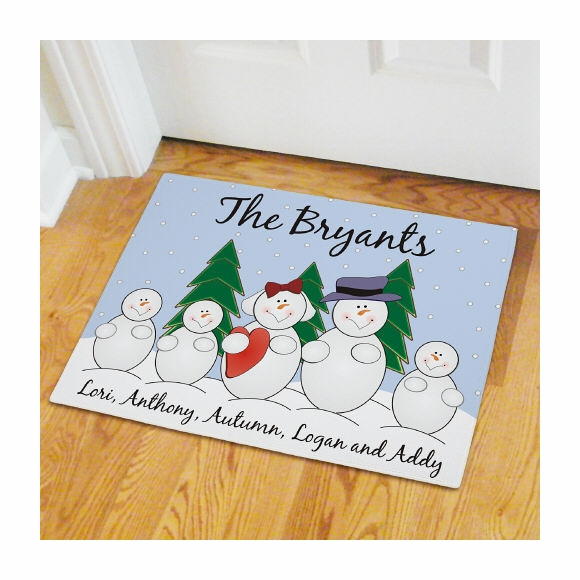 Snowman Family Personalized Doormat