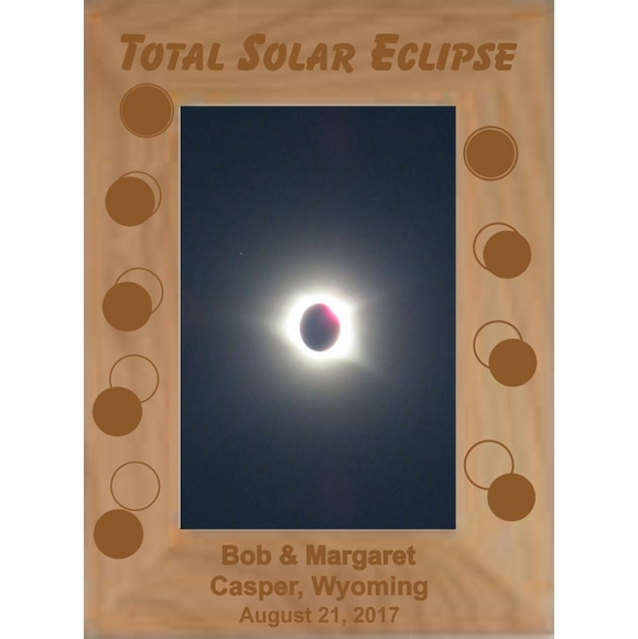 Custom Engraved Personalized Solar Eclipse Picture Frame - Vertical