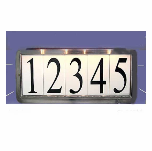 Solar Illuminated House Number Sign with Lawn Post