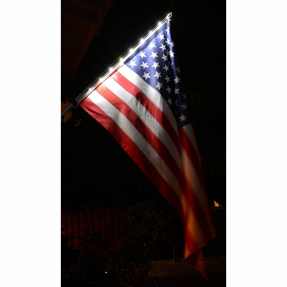 Solar Light Flagpole and American Flag