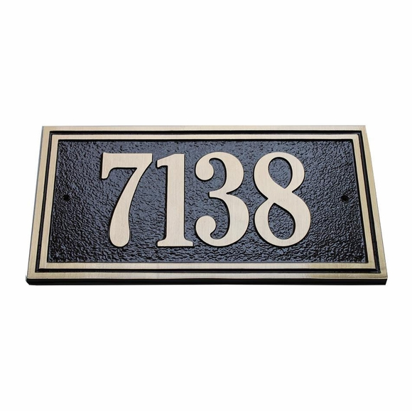 Solid Cast Brass Rectangle Address Sign