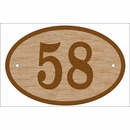 Solid Oak Oval Address Sign Made of Wood