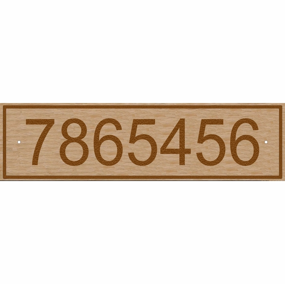 Wood Address Sign - Wide Rectangle Solid Oak Plaque For Long House Numbers