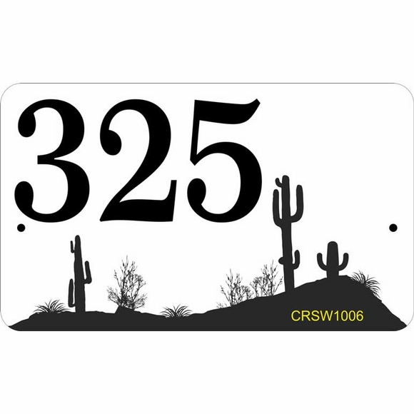 Southwest Theme Address Plaque - House Number Sign With Cactus and Desert View