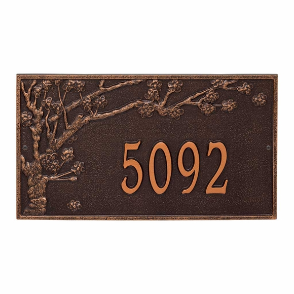 Large Address Number Plaque With Blossoming Tree For Wall or Optional Lawn Mount