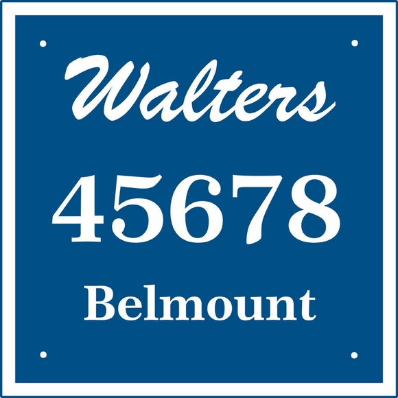 Custom 3-Line Square Address Sign With Family Name and Street