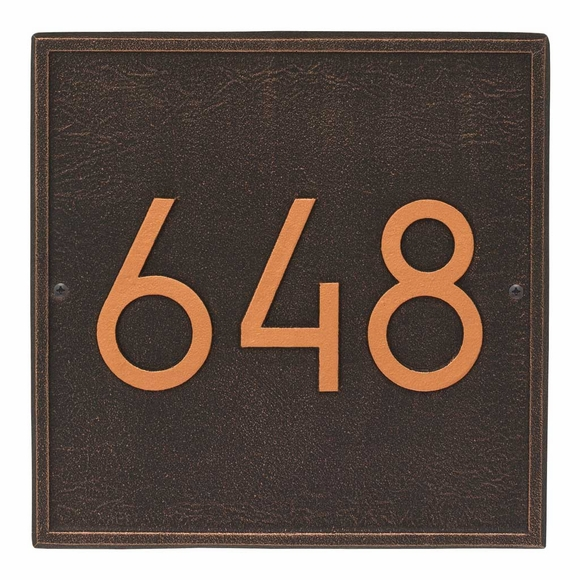 Square Address Plaque with Modern Font - Contemporary House Number Sign