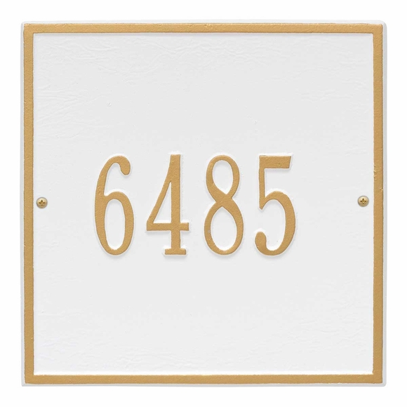 Square House Number Sign For Wall or Optional Lawn Mount - Choose Your Color