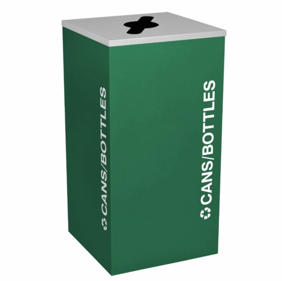 Square Recycling Container For Cans, Bottles, and Paper In Black, Emerald Green, Ruby Red, or Royal Blue