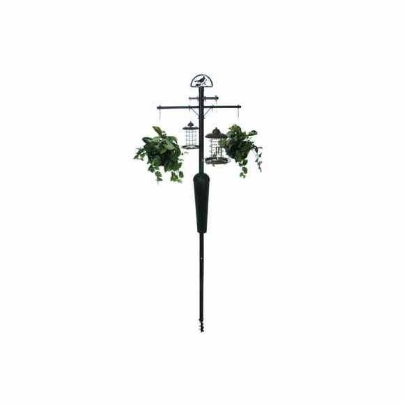 Squirrel Stopper Bird Feeder Pole System With Spring Loaded Baffle