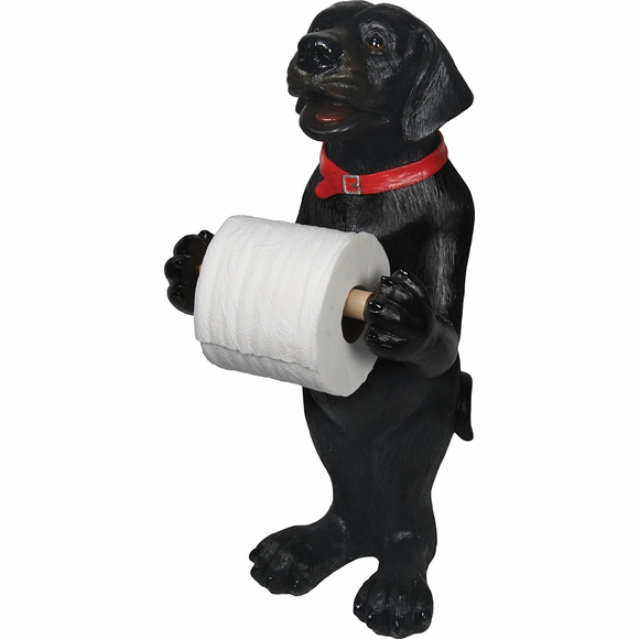 Standing Black Lab Toilet Paper Holder
