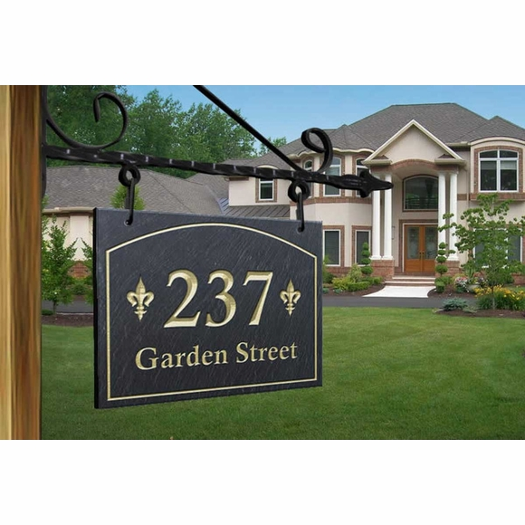 One Sided Fleur de Lis Hanging Slate Address Sign