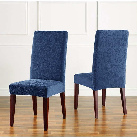 Stretch Jacquard Damask Short Dining Chair Slipcover