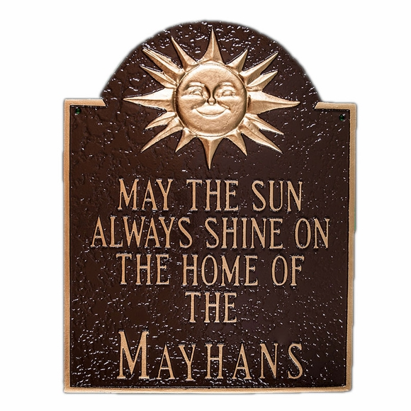 May The Sun Always Shine On The Home Of Family Name Plaque
