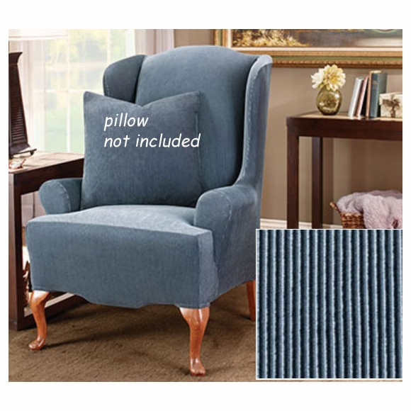 Surefit Stretch Stripe Wing Chair Cover