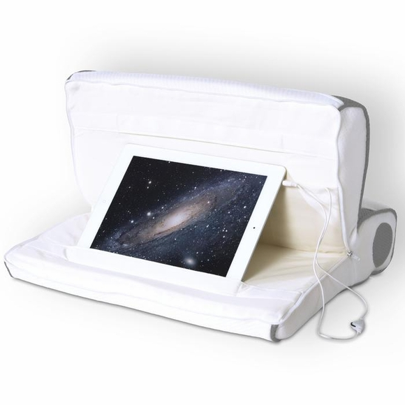 Tablet Stand Pillow with Speakers