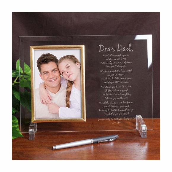 To My Dad Picture Engraved Glass Picture Frame with Poem