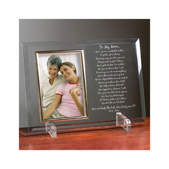 To My Mom Personalized Engraved Glass Picture Frame with Your Personal Poem