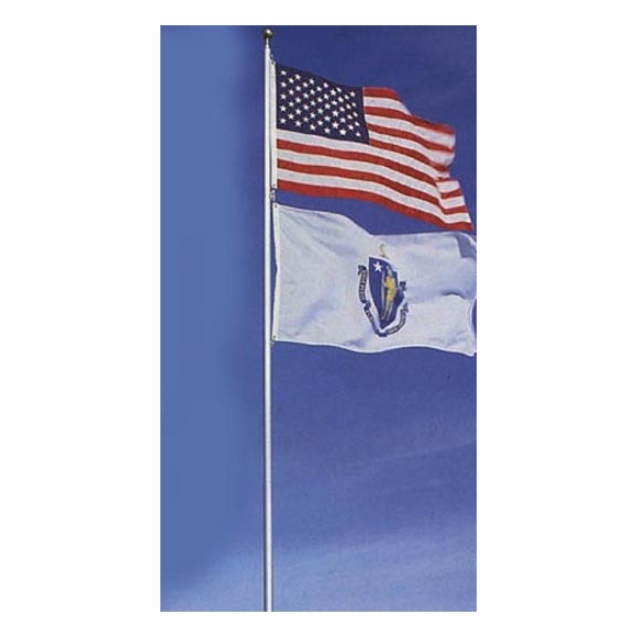 TopFlight Telescoping 20' Flagpole with American Flag holds 2 flags
