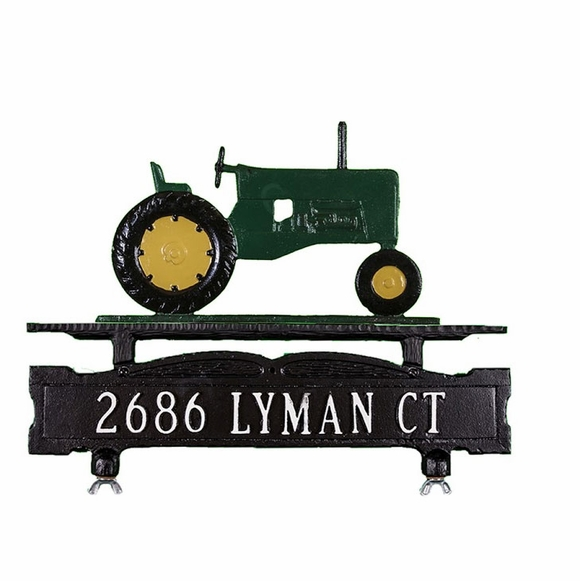 Mailbox Topper Address Sign With Tractor Ornament On Top