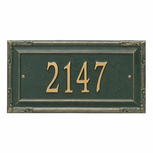 Metal Address Plaque With Simulated Carved Wood Border