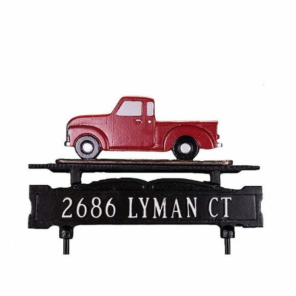 Lawn Address Sign With Pickup Truck Ornament On Top