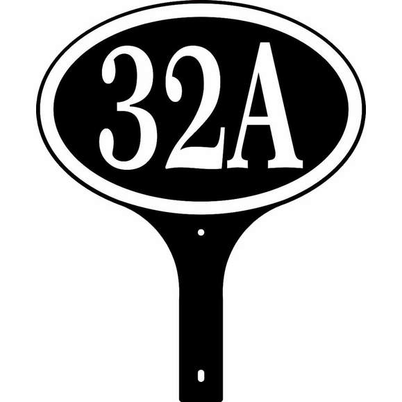 Two Sided Oval House Number Sign - Optional Lawn Mount Stake
