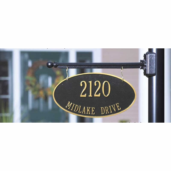 Two Sided Personalized Hanging Oval Address Sign