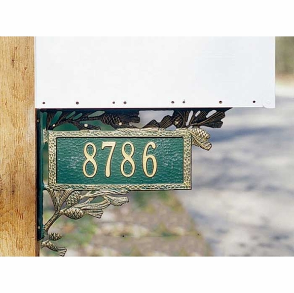 Pine Cone Mailbox Bracket With Address On Both Sides - Two Sided Address Plaque