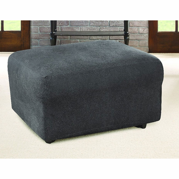 Ultimate Stretch Faux Leather Ottoman Cover