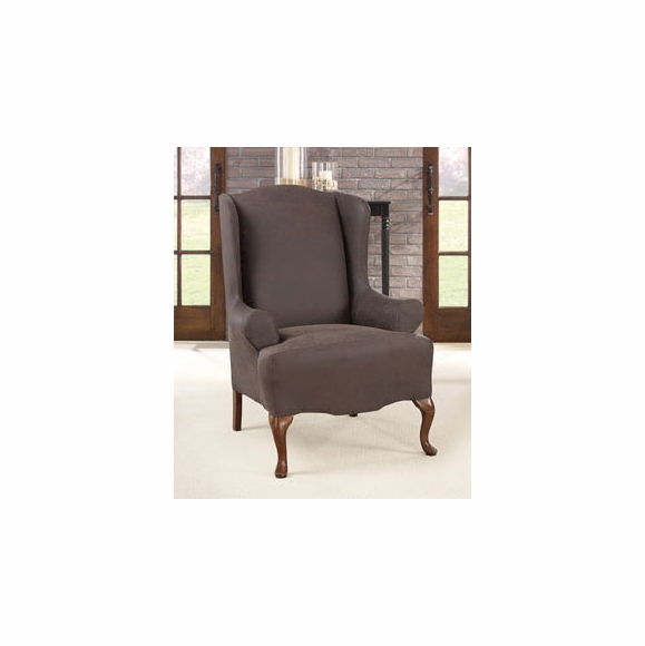Ultimate Stretch Faux Leather Wing Chair Cover