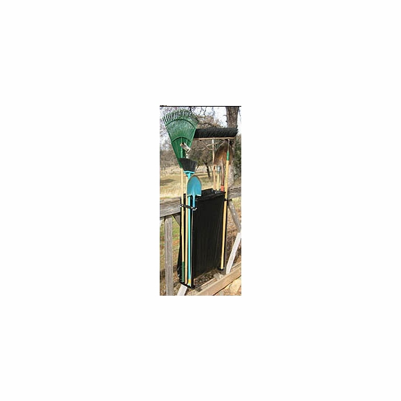 Tool Caddy Hangs On Fence Rail To Store Long Handled Tools and Trash Bag