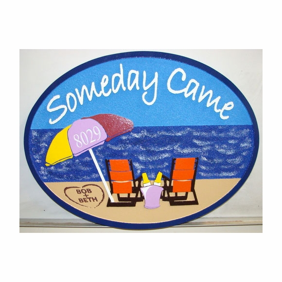 Beach Address Plaque or Wall Art - Someday Came with House Number on Umbrella and Names in Sand