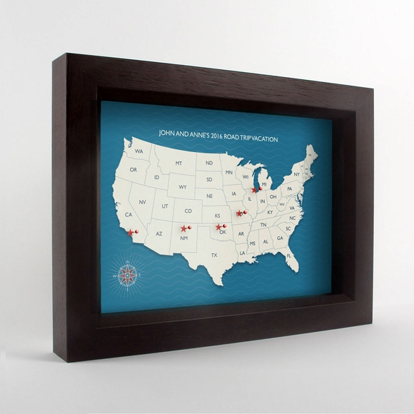 Personalized USA Travel Map With 5 Pins