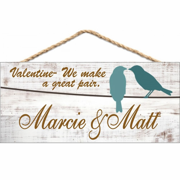 Valentine's Day Gift - Personalized Love Bird Plaque Hanging Wall Art