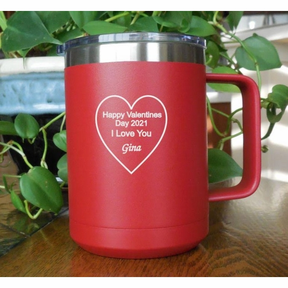 Valentine's Day Gift Personalized Coffee Mug - Heart With Your Custom Message - Anniversary, Romantic, I Love You