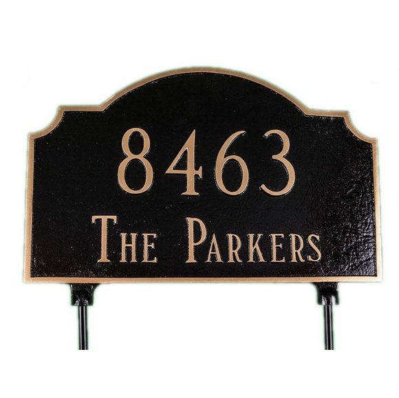 Two Sided Lawn Address Sign - Double Sided Arch Address Plaque With Cut Out Corners