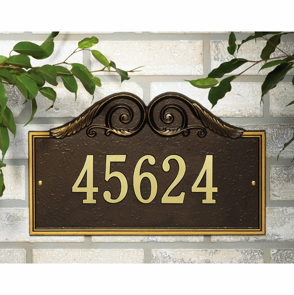 Personalized Address Plaque With Decorative Scroll Arch Top