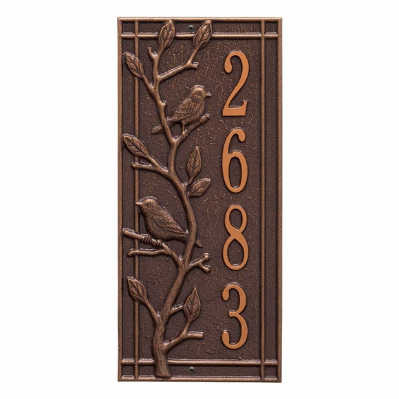 Vertical Address Plaque with Birds Perched On Branch