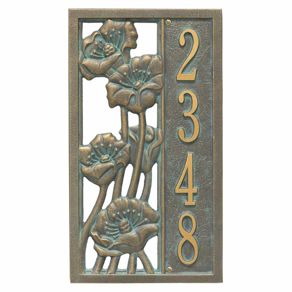 Vertical Address Plaque with Poppy Flowers