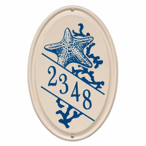 Vertical Address Plaque with Star Fish