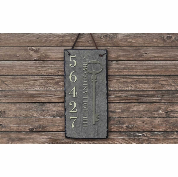 Vertical House Number Plaque with House Key