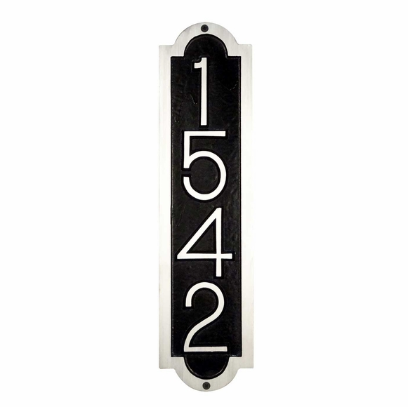 Vertical House Number Sign - Cast Aluminum Metal