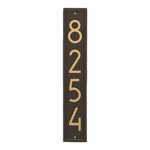 Vertical Modern Address Plaque - Contemporary House Number Sign With 4 Inch Numbers