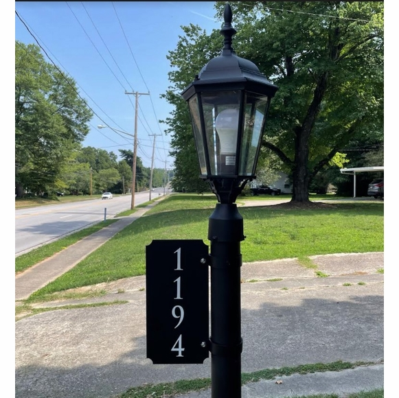 Vertical Two Sided Reflective Address Sign With Pole Mounting Brackets